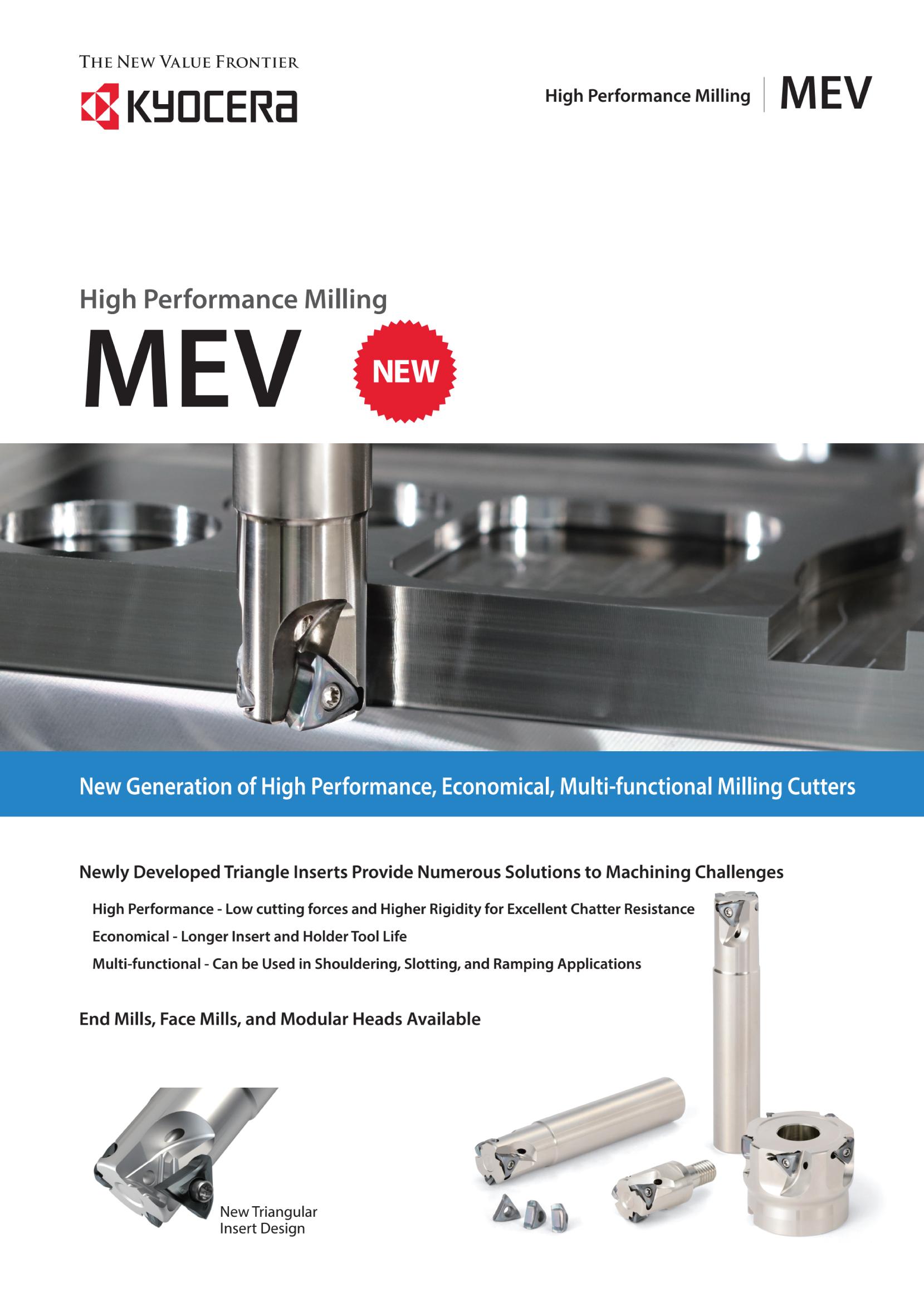 Dao phay gắn mảnh Kyocera MEV hiệu suất cao