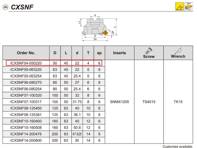 COMBO ĐÀI DAO PHAY MẶT PHI 50 WINSTAR ICXSNS5000500