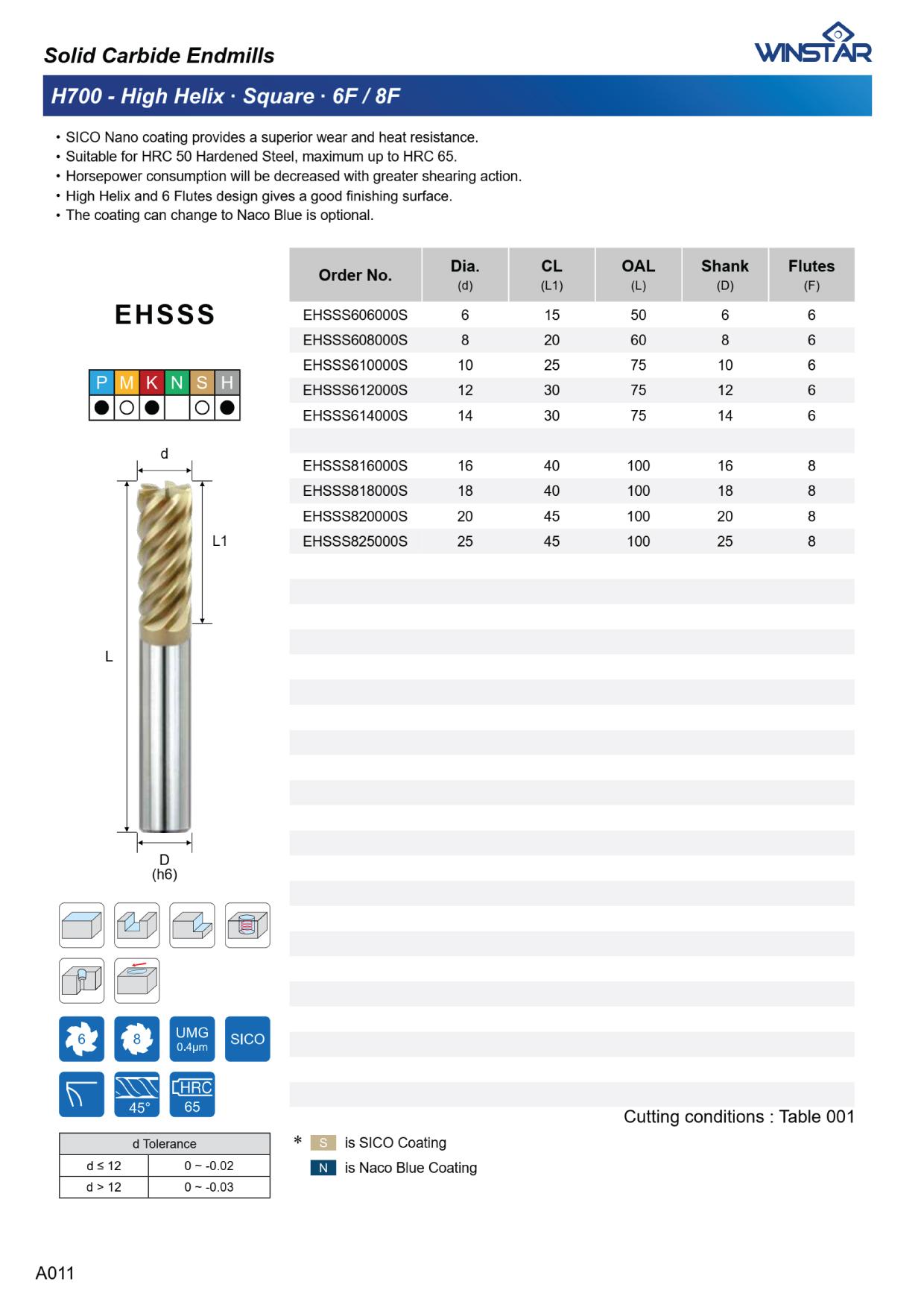 Dao Phay Nhôm High PerforDao Phay High Helix 6F-8F Winstar EHSSS Series H700 1mance Winstar A100 ENSSB 1