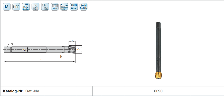 MŨI TARO NÉN GẮN INSERT HỆ MET M8 x 1,25mm LMT - 2
